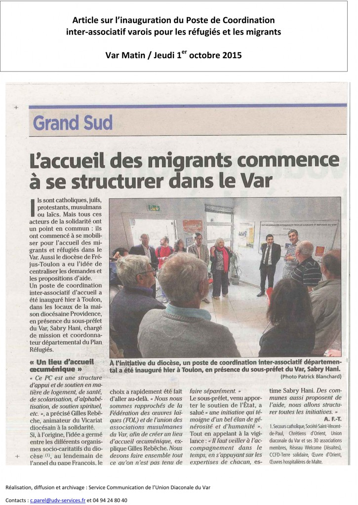 inauguration pc migrants var mat 1 oct 2015